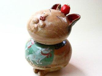 日本猫とトマトの陶箱 / 陶器 / 陶筥/ 猫 /陶芸家 / cute ceramic boxの画像