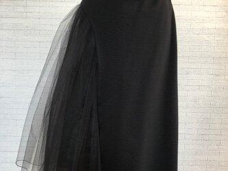 *チュールレースとカットソーのデザインスカート黒*の画像