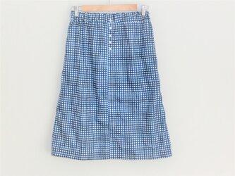 チェック柄ボタンスカート C100%の画像
