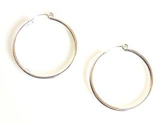送料無料 30mm Tube Hoop Earrings-Sterling Silver Filled- シルバー フープピアスの画像