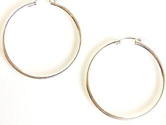 送料無料 40mm Tube Hoop Earrings-Sterling Silver Filled- シルバー フープピアスの画像