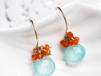 送料無料 14kgf hook Earrings  天然石 ピアス (カーネリアン カルセドニー)の画像