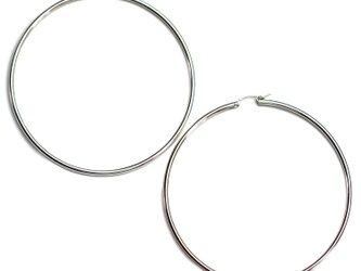 送料無料 Tube Hoop Earrings-Sterling Silver Filled 80mm- シルバー フープピアスの画像