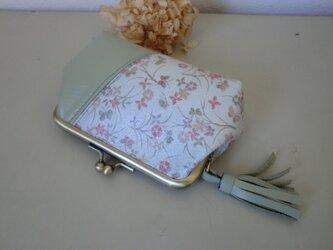 おしゃれがま口 革 小花&モスグリーンの画像