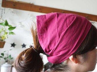 綿麻ラズベリーカラーのヘアターバンの画像