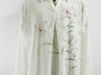 長袖・綿麻スキッパーシャツ(ササユリ・ホワイト)の画像