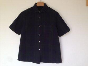 コットン100% ブラックウォッチ 丸襟半袖シャツの画像