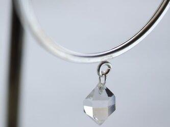 HerkimerDiamond Hooped earrings ハーキマーダイヤモンドのフープピアス Silverの画像