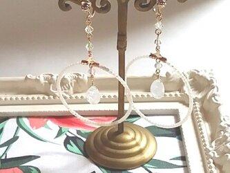 ブルームーンストーンフープイヤリング の画像