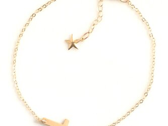 送料無料 14kgf goldfilled bar anklet-star レディース クロス アンクレット スターの画像