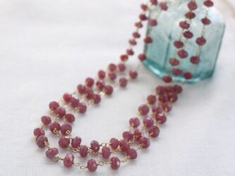 Faceted Ruby Long Necklace w/ 14KGF ルビーのロングネックレスの画像