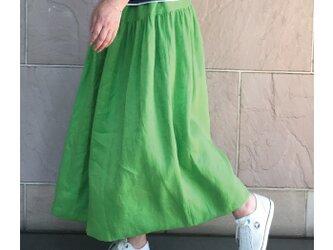 リネン ヨークスカート アップルグリーンの画像