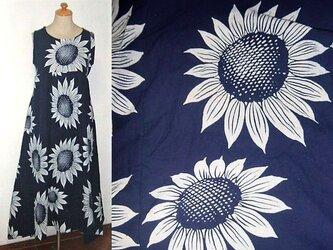 Sold Out浴衣リメイク♪大輪の向日葵が素敵な浴衣ワンピース♪裾変形♪ハンドメイド♪初夏の画像