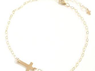 送料無料 14kgf goldfilled cross anklet cross-Men's メンズ クロス アンクレットの画像