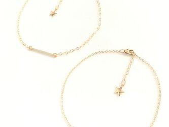 送料無料 14kgf goldfilled bar anklet star ペア カップル バー アンクレット スターの画像