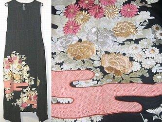 Sold Out留袖リメイク♪花の刺繍が豪華な留袖ワンピース♪裾変形♪ハンドメイド♪正絹の画像