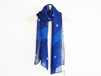 藍染絞りストール*星空の画像