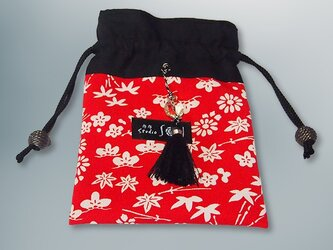 赤と黒の古布遊び巾着(房飾り 黒・ビーズ付き)【1点もの】の画像