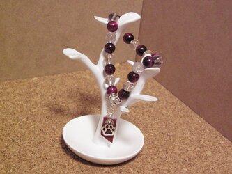天然石水晶とピンクタイガーアイのブレスレットの画像