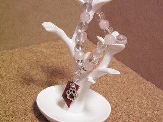 天然石水晶とローズクォーツのブレスレットの画像