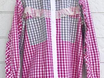 クラゲフリルシャツ-ピンク×グレー-の画像