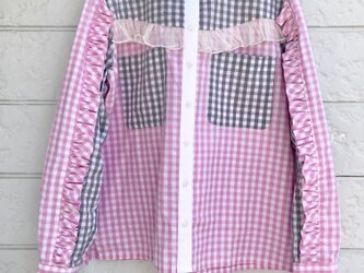 クラゲフリルシャツ-もも×グレー-の画像