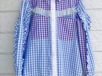 クラゲフリルシャツ-ブルー×葡萄色-の画像