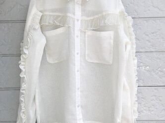 クラゲフリルシャツ-ピュアホワイト①-の画像