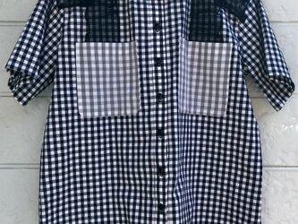 クラゲフリルシャツ-ブラック×グレー-の画像