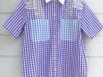 クラゲフリルシャツ-葡萄色×ブルー-の画像