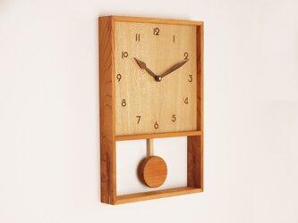 木製 箱型 振り子時計 ケヤキ材9の画像