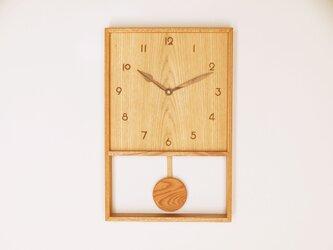 木製 箱型 振り子時計 ケヤキ材15の画像