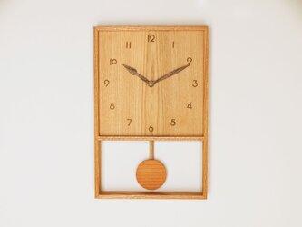 木製 箱型 振り子時計 ケヤキ材17の画像
