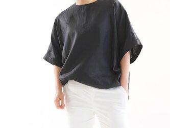 【wafu】薄地  リネンブラウス ビックサイズ Tシャツ 襟ぐり小さめ 背中ファスナー/ ブラックt016c-bck1の画像