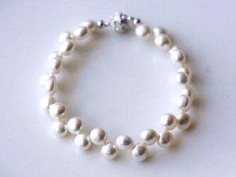 バロック淡水真珠のレース仕立てクラスプブレスレット ~Mashaの画像