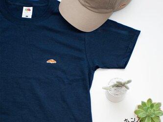 Tシャツ【ネイビー】;クロワッサン刺繍付きの画像