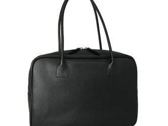 A4対応 人気のスクエアボストン オール牛革 本革バッグ 軽量 リアル シュリンクレザー ブラックの画像
