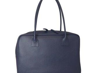 A4対応 人気のスクエアボストン オール牛革 本革バッグ 軽量 リアル シュリンクレザー ネイビーの画像