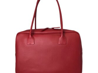 A4対応 人気のスクエアボストン オール牛革 本革バッグ 軽量 リアル シュリンクレザー レッドの画像