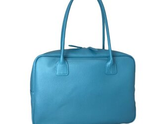 A4対応 人気のスクエアボストン オール牛革 本革バッグ 軽量 リアル シュリンクレザー ライトブルーの画像