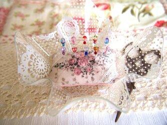 ◆◇ガラス飾りの待ち針10本セット(カット玉・お花)◇◆の画像