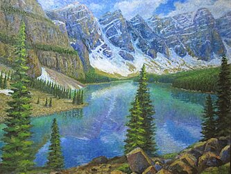 モレイン湖に映るテンピ-クスの画像