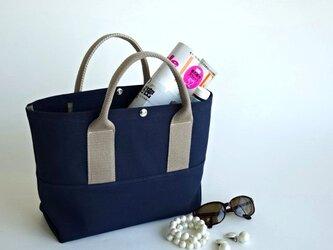 帆布A4・大人カラーのトートバッグ・ネイビー ブルーの画像