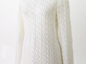 ウールふんわり模様編みプルオーバー(オフホワイト)の画像