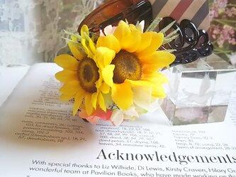 **Irodoru**向日葵の恋。゜。゜ダブル向日葵のナチュラル可愛いフラワーバンスクリップ**の画像