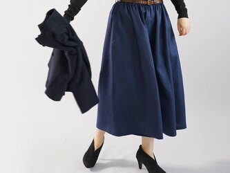 【wafu】中厚 リネンパンツ ワイドスカーチョ キュロットパンツ ボトムス /オリエンタルブルー b002a-obn2の画像