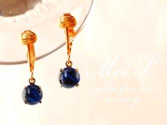 ヴィンテージビジューのイヤリング marble blueの画像