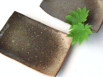 炭化灰釉の四方皿の画像