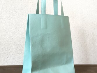 豚革 ライトブルー 紙袋型 ショッピングバッグ トートバッグの画像
