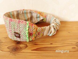 nisipirica工房の手織りターバン(pink)の画像
